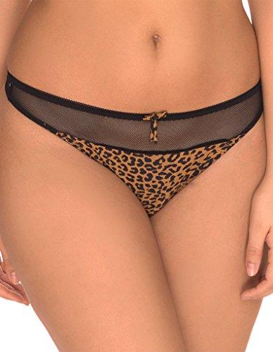 Sans Complexe 309665-Camel/Noir Women's Leopoldine Black/Animal Print Animal Print Thong Panty G-String 22/24 Animal Print Thong