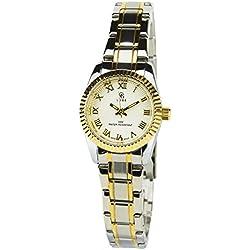 GG LUXE -Damen Armbanduhr Silber Gold Quarz Gehäuse Stahl Analog Display Typ Water resist 30M-3ATM Armband Stahl Silber