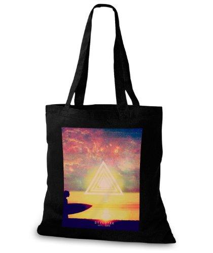 StyloBags Jutebeutel / Tasche Sunset Surfer Triangle Schwarz