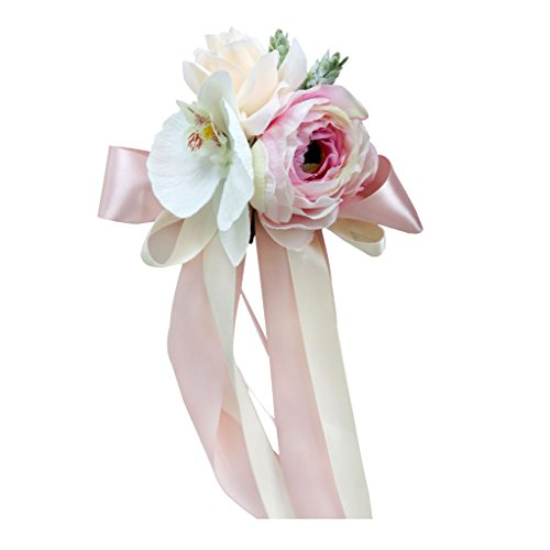 ugrato Hochzeit Auto Spiegel Griff Stuhl Dekorationen Kit Seide Blume Band Party - Pfirsich Pink, 32 x 12 x 10 cm (Seide Blume-kit)