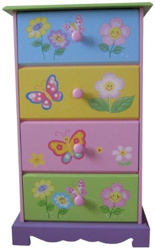 Liberty House Spielzeug-Kommode, 4 Schubladen, Schmetterlings- und Blumenmotiv (Liberty Kommode Möbel)