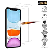 ANKENGS iPhone 11 Screen Protector [3 Pack], iPhone 11 Glass Screen Protector, [Full Coverage] [Anti-scratch] [Bubble Free] Tempered Glass for iPhone 11