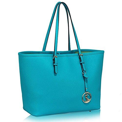 LeahWard Oversize Damen Shopper Taschen Qualität Faux Leder Umhängetasche Handtaschen für Frauen Schulferien CW31 (Teelöffel)