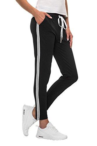 Hachiro Damen Hose Freizeithose 7/8-Hose Sportswear Style (XL, Black/Grey)