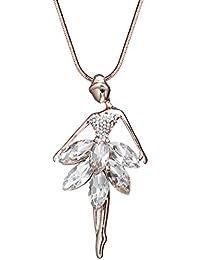 00862e760a Collana di moda per donna, collana pendente ballerina in oro rosa o argento  collana a