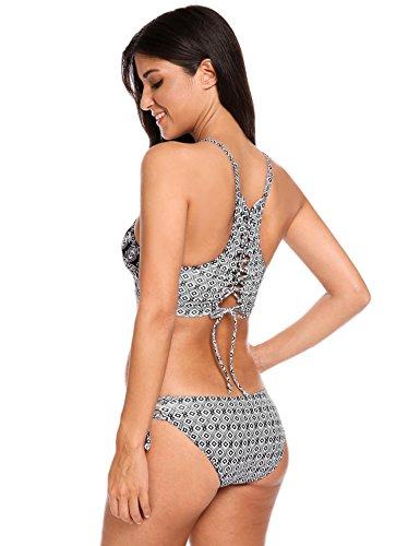 EKOUAER Damen reizvolles Bikini Set Swimsuit Niedrige Taille Blumen Muster Badeanzüge Sexy Print Floral Zwei Stück Bademode Stil B-Schwarz