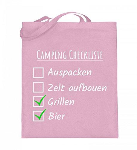 Hochwertiger Jutebeutel (mit langen Henkeln) - Camping Checkliste Hellrosa