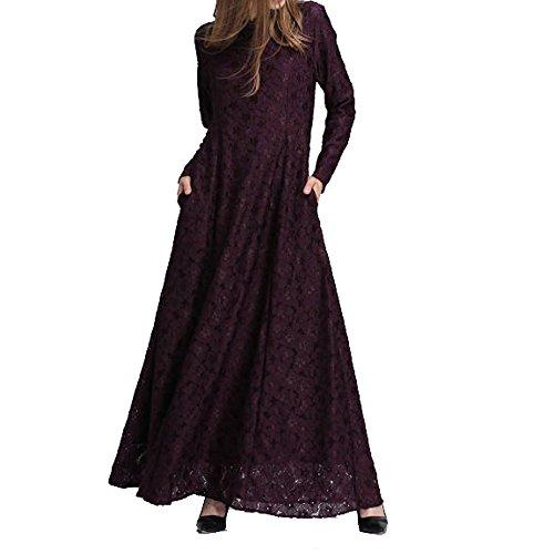 Muslimische Spitze Langarm Kleid Tunika Robe mit Langarm Abaya Dubai Kleider Damen Maxikleid...