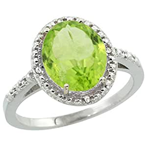 Revoni Sterling Silver Peridot And Diamond Ring, Oval Stone (10x8 mm)