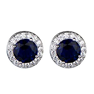 Katie's Synthetic Sapphire and CZ Stud Earrings