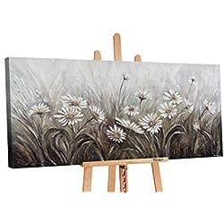 YS-Art Premium Cuadro Acrílico Margarita | Pintado a Mano | Arte Moderno | Lienzo De Pared | único | Gris | PS057 (60 x 120 cm)