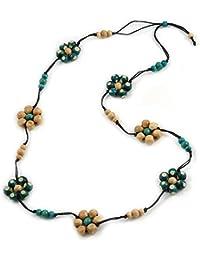 Avalaya - Collar de cordón de algodón Negro Floral con Cuentas de Madera Natural y Verde, 116 cm de Largo