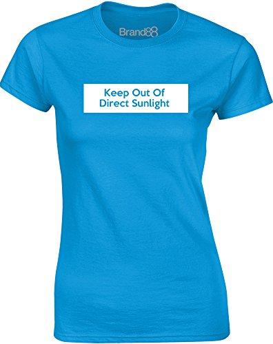 Brand88 - Keep Out of Direct Sunlight, Gedruckt Frauen T-Shirt Türkis/Weiß
