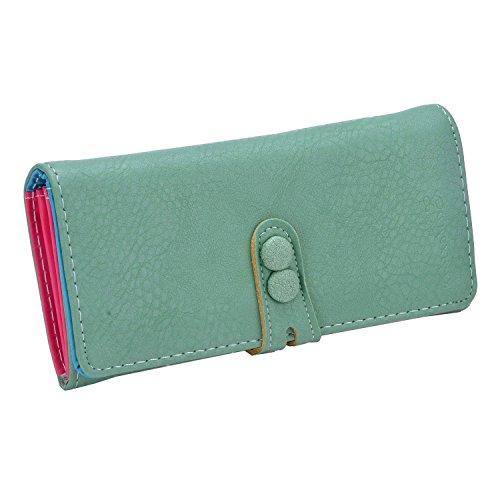 Minetom Damen Niedlich Süßigkeit Farben Lang Geldbeutel Kreditkartenfächer wallet Lady Clutch Handtasche Geldbörse ( Grün ) (Lange Clutch Handtasche Wallet)