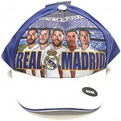 Real Madrid CF Official - Gorra para niños (Modelo Único/Blanco/Azul)