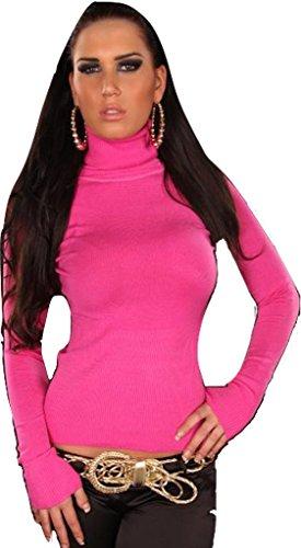 In Style Damen Pullover langärmelig mit Rollkragen, pink Größe 36 38 40