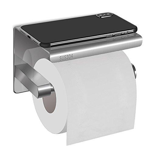 HBlife Toilettenpapierhalter Papierhalter Edelstahl Wandhalter mit Dem Geräumigen Regal für Küche und Badzimmer Toilettenpapierhalter WC Papierhalter Papierrollenhalter