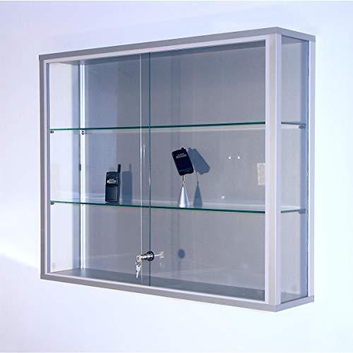 Wandvitrine, BxTxH 1000x200x800 mm, Aluprofile, 2 Glasböden, Schiebetüren, Zylinderschloss -