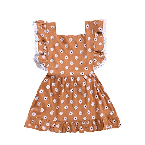 JUTOO Neugeborenes Kleinkind-Kind-Baby-Mädchen-Sleeveless Blumen Bedruckte Partei-Prinzessin Dress...