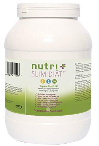 Mahlzeitenersatz Vegan - Nutri-Plus Slim Diät-Shake Schokolade 1kg - Pflanzliche Aktivkost - Vegan - Glutenfrei - Laktosefrei - Aspartamfrei (Slim Schokolade)