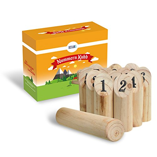 Ocean5 - Numbers Kubb - The outdoors number throwing game - Viking game with wodden pins from Scandinavia - The perfect game of skill for summer