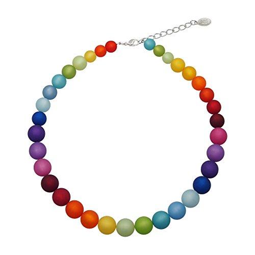 Halskette aus echten Polarisperlen ca. 45 cm + 4.5 cm PKE1441-01 Regenbogenmix hell