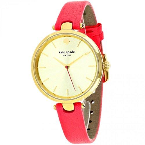 Kate Spade New York KSW1135 Ladies Holland Neon Geranium Leather Strap Gold-Tone Stainless Steel Case 34 mm Quartz Watch