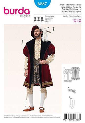 Burda Herren Schnittmuster 6887-König Heinrich der 8. Fancy Kleid Kostüm