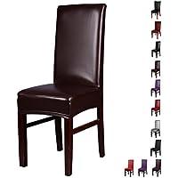 Cubiertas de la silla de la PU,Inroy Artificial estiramiento silla de cuero protector,Resbalones de asiento universales impermeables y resistentes al aceite (4-Piezas, B-Marrón)