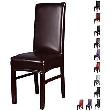Cubiertas de la silla de la PU,Inroy Artificial estiramiento silla de cuero protector,Resbalones de asiento universales impermeables y resistentes al aceite (1-Piezas, B-Marrón)