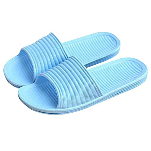 OVERMAL Bath Femmes Striped Flat Pantoufles Summer Sandals Pantoufles Indoor & Outdoor Bleu Ciel