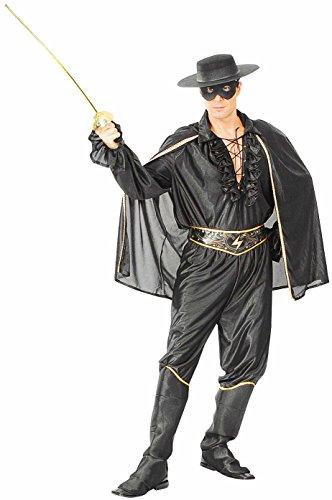 Zorro Banditen-Kostüm Herren Schwarz Dunkel Gr. 52/54 Rächer-Verkleidung Fasching Outfit Karneval Halloween Maske und (Maske Kostüme Zorro)
