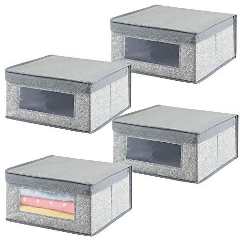 mDesign Juego de 4 cajas organizadoras medianas de tela – Organizadores para armarios para el cuarto de los niños – Caja para organizar ropa, mantas o baberos con tapa y ventana – gris