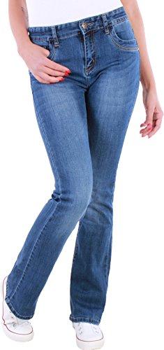 Damen High-cut (BD Damen Boot-Cut Jeans, High Waist Schlaghosen, Ausgestellt blau HochschnittWaschung (36/S))