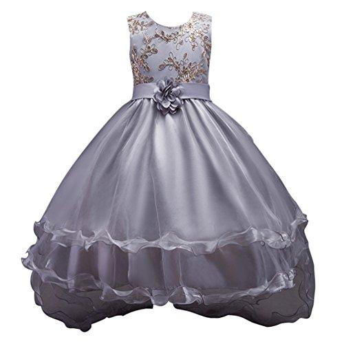 Junge Kostüme Blumenkind (CHENGYANG Kinder Mädchen Festlich Ärmellos Prinzessin Kleid Formell Hochzeit Kostüm Party Kleider (Grau,)