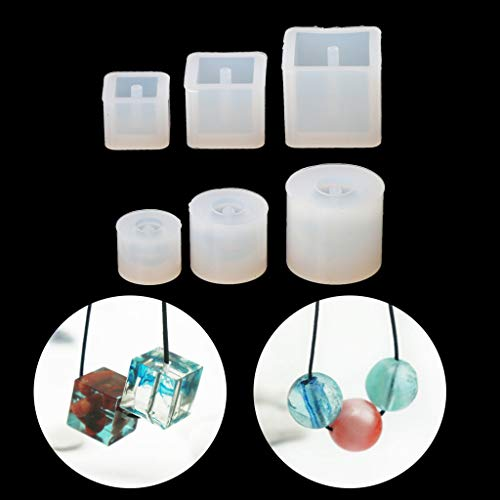 Cuigu 6pcs/Set Silicona Molde Bricolaje Perlas Pulsera Colgante Pendiente de creación de Joyas Herramienta Resina Molde