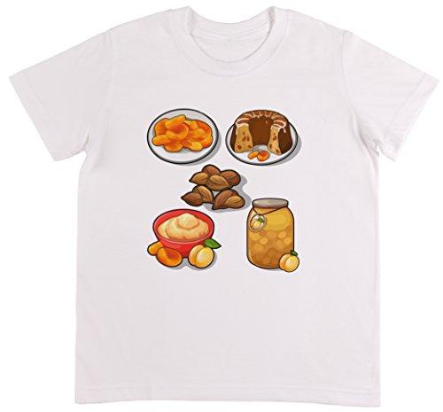 Mandeln Aprikosen (Mandel Und Aprikosen Essen Unisex Kinder Weiß T-shirt Jungen Mädchen Größe L)