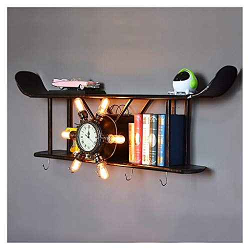 QTDH DIY Flugzeug Modell Metall Handwerk - Vintage Doppeldecker Wandlampe - Foto Requisiten/Weihnachten/Home Decor/Wanddekoration Rahmen (Farbe : A) (Weihnachts-requisiten Fotos Für)