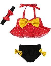 Logobeing Bañador Bebé Niña de Verano Traje de Baño Dos Piezas de Correas Para Chicas Tops Pantalones Cortos Diademas Venda 3Pcs Conjunto De Bikini BañAdores 3 - 24 Mes