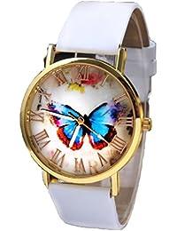 Relojes Pulsera Mujer,Xinan Mariposa Banda Cuero Relojs de Cuarzo Analógico (Blanco)