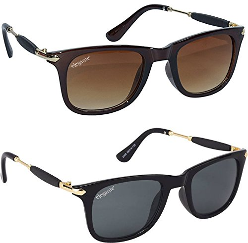 ELEGANTE Wayfarer UV Protected Men\'s Sunglasses Combo (Black, Brown, 55)