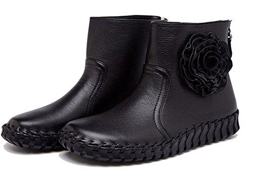 Bottes et boots Femme court confort Oxford cuir plat mocassin décontracté fleuron chaussure élégant Noir