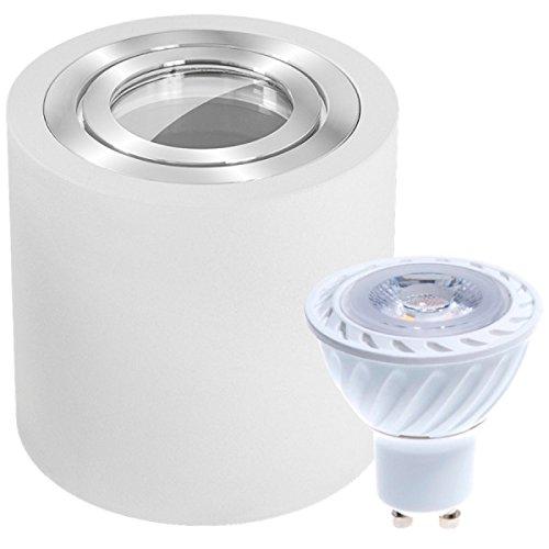 IP44 LED Aufbaustrahler Set Weiß mit 4000K LED GU10 Markenstrahler von LEDANDO - 7W - neutralweiss - 30° Abstrahlwinkel - Feuchtraum / Badezimmer - 50W Ersatz - LED Aufbauleuchte Zylinder