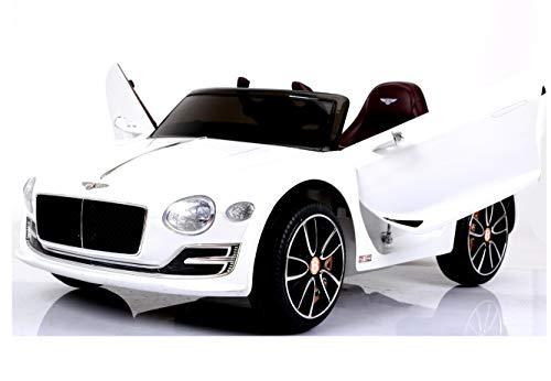 Bentley Continental Cabrio - Elektro Kinderauto Elektroauto Kinderfahrzeug E-Auto - Ledersitz / 2x 390 Motoren / 2x 6V4AH Akku / Fernbedienung / Vollgummi-Reifen / USB / MP3 - Weiß Metallic