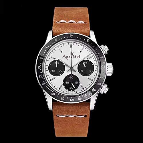 PLKNVT Neue Männer Automatische Mechanische Selbstwind Uhr Vintage Perpetual Paul Newman Saphir Edelstahl Uhren Braun Leder5 (Vintage Orient Kalender-uhr)