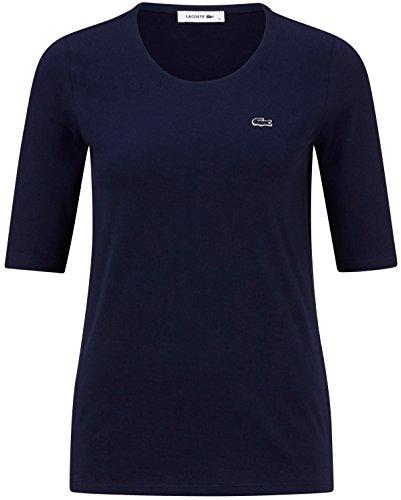 Lacoste TF5621 Klassisches Damen Basic T-Shirt, Rundhals, 3/4 Arm, Kurzarm, Regular Fit, für Freizeit und Sport, 100% Baumwolle Blau (Navy Blue 166), EU 40