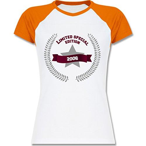 Geburtstag - 2006 Limited Special Edition - zweifarbiges Baseballshirt / Raglan T-Shirt für Damen Weiß/Orange