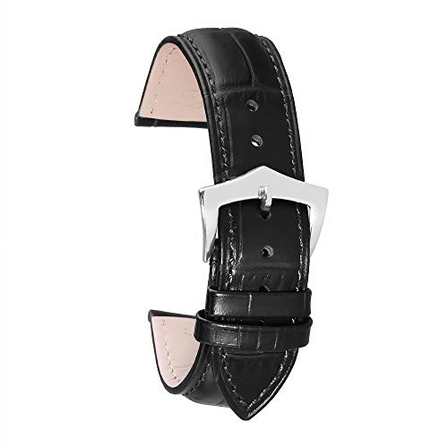 Pulseras Mujer Reloj de de Cuero Correa de Reloj Negro de 12mm Correa