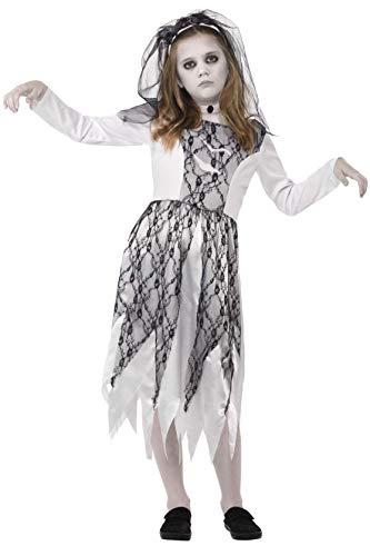 Smiffys 45481M - Kinder Mädchen Geisterbraut Kostüm, Kleid, Schleier und Halstuch, Alter: 7-9 Jahre, grau (Geist Mädchen Kinder Kostüm)