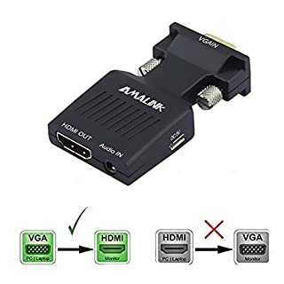 VGA to HDMI Adapter, Amalink Stereo R/L Channel 5V1A VGA Male to HDMI Female Adapter Converter Box with Audio in Black